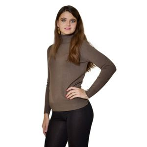 PULL Pull femme classique marque B.YOUNG col roulé taup