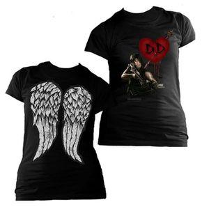 T-SHIRT Ladies Walking Dead Daryl Dixon Heart Wings Autori