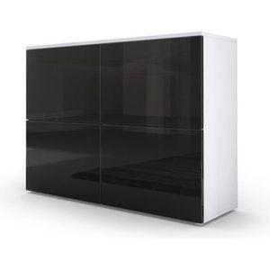 COMMODE DE CHAMBRE Commode moderne  blanche et noir façades laquées e