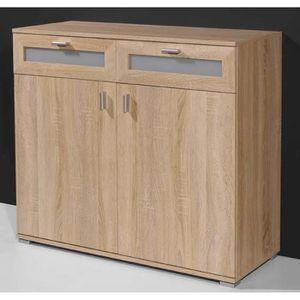 COMMODE DE CHAMBRE Commode en bois avec 2 portes et 2 tiroirs coloris