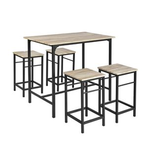 MANGE-DEBOUT SoBuy® OGT11-N Ensemble table de bar bistrot + 4 t