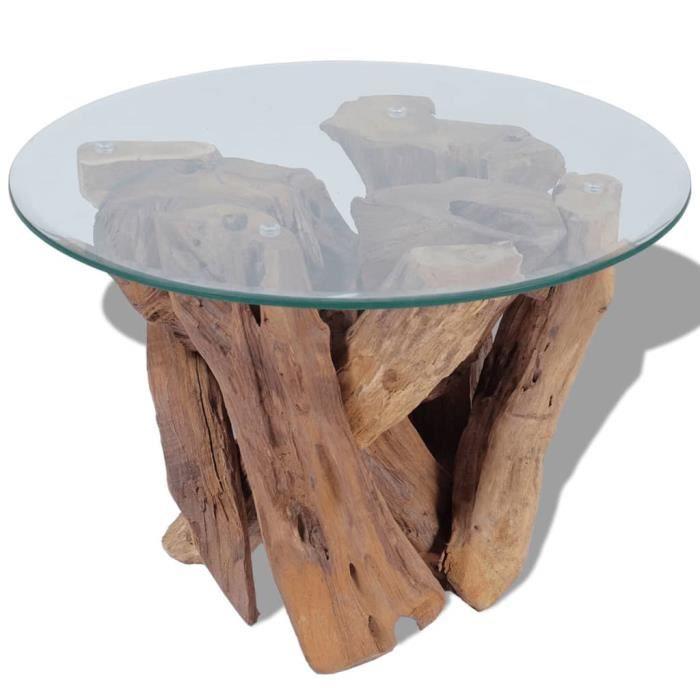 Table basse base en bois flotté teck massif + dessus de table en verre trempé 60 x 0,8 cm marron -LAG