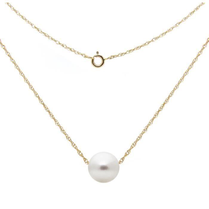 Chaine De Cou Vendue Seule Femmes 14k chaîne en or jaune avec blanc d'eau douce perle de culture Pendentif flottant, 18- JLRSH