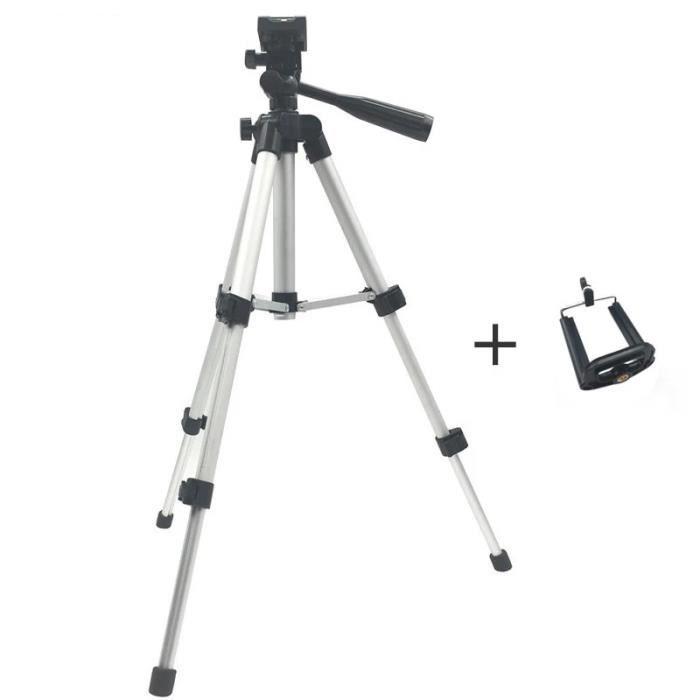 Trépied photo,Support de trépied caméra pliable professionnel vis de support 360 degrés tête fluide trépied - Type Tripod and Clip