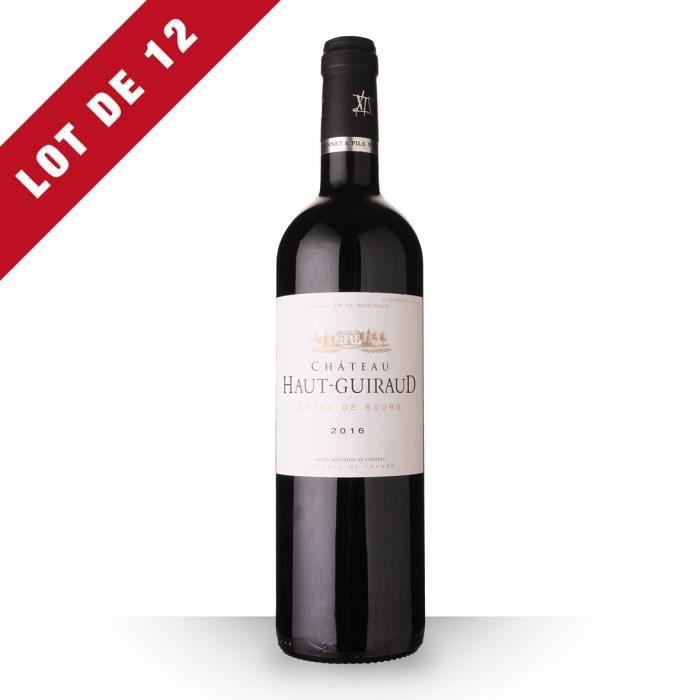 Lot de 12 - Château Haut-Guiraud 2016 AOC Côtes de Bourg - 12x75cl - Vin Rouge