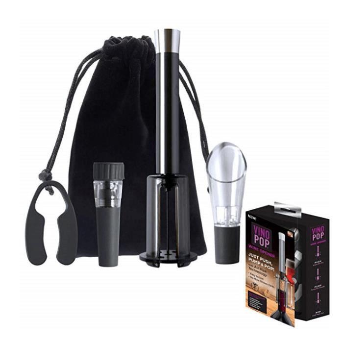 Le kit du sommelier : VINO POP avec ouvre-bouteille et accessoires - Gris