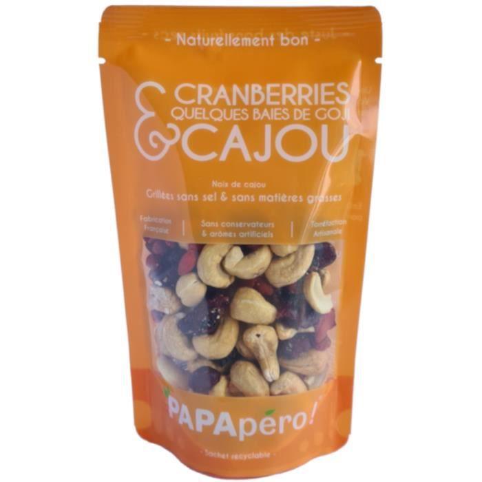 Cajou & Cranberries-Goji - Grillées sans sel & sans matières grasses - 100gr - PAPApéro !