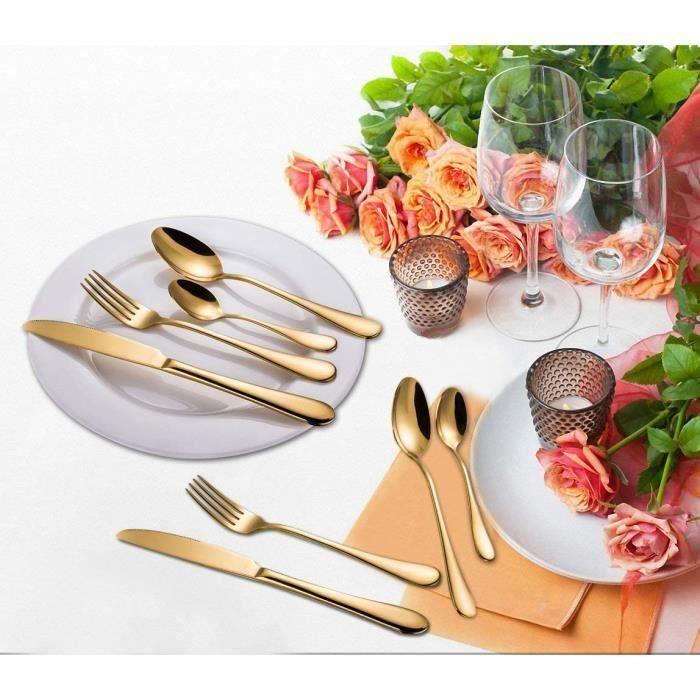 Ménagère 24 couverts dorés et modernes pour 6 personnes en acier inoxydable, pour mariage ou tout autre événement