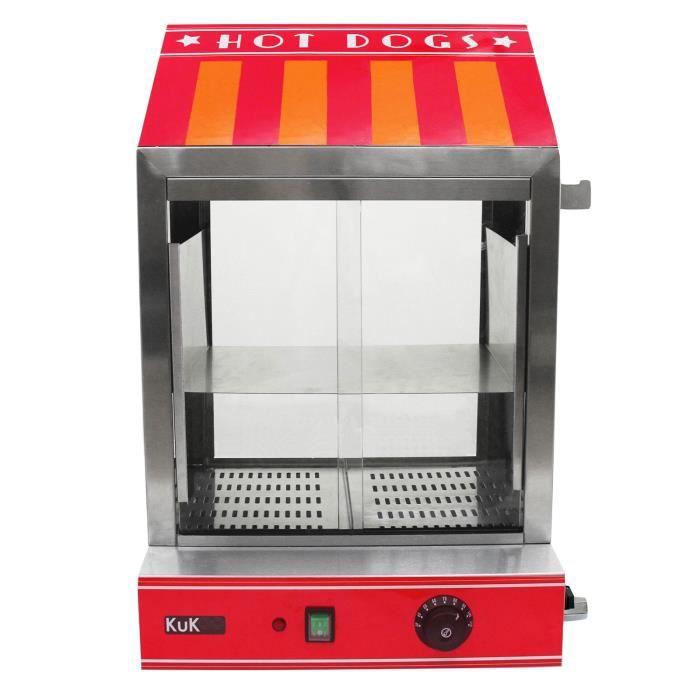 Cuiseur Vapeur pour Hot Dog, Machine Commerciale pour Hot Dog à Portes en Verre et Réchauffe Pain