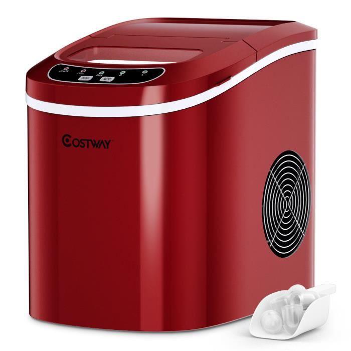 COSTWAY Machine à Glaçons Machine pour Glace Réservoir 2,2L,12kg/24H 9 Glaçons par 6-13Min, pour Maison,Bureau,Café Rouge