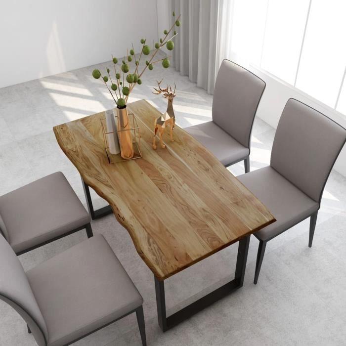 Table à manger de 4 à 6 personnes - Style Industriel et Rustique - Bois d'acacia Solide & Pieds en Acier - 140x70x76 cm
