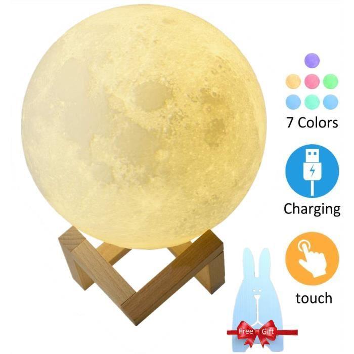 Lampe Lune 3D Tactile 7 Couleurs USB Rechargeable Moon Lamp Veilleuse Lune Multicolore Pour Enfant Cadeau Anniversaire Noël -15CM