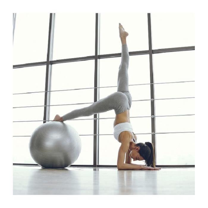 Ballon de Gymnastique - Anti-éclatement - Boule d'assise - Balle de Yoga-Pilates - Balles d'exercices Fitness 55 CM - Gris