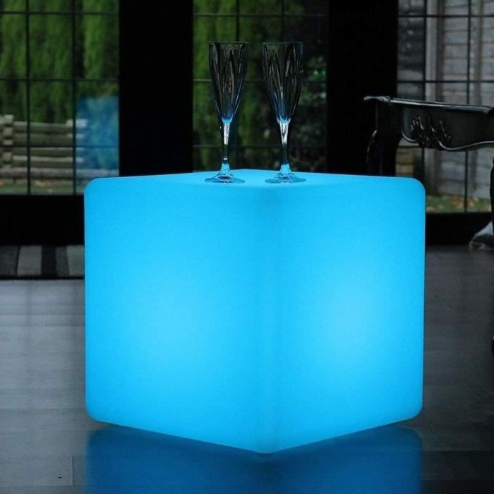 ENAL1 Cube LED Tabouret Chaise lumineuse Place assise lumi&egravere parole lampe IP65 r&eacuteglable 16 &eacutetanche RGB couleur