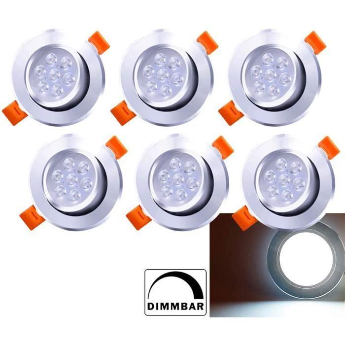 Hengda Spots LED Encastrables 7W Dimmable Blanc 6500K Plat Pour Salle de Bain, Plafonnier Encastré Étanche 560LM Equivalente de 60W