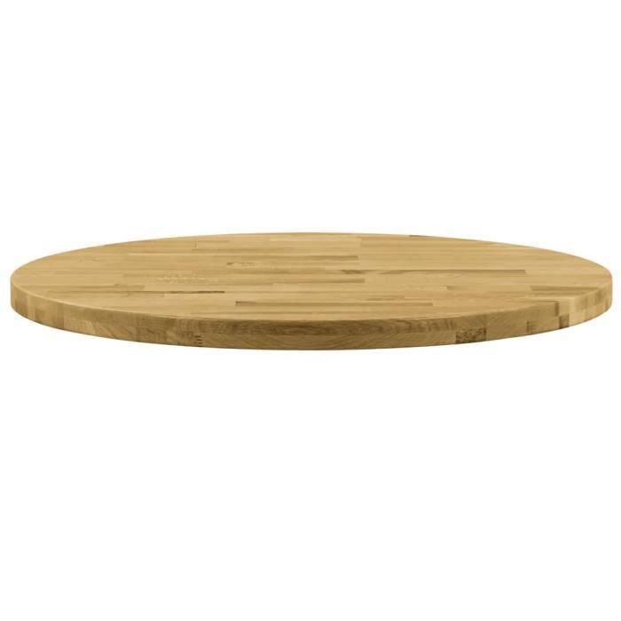 Le meilleur* -849657- Plateau Pour Table - Dessus de table Bois de chêne massif Rond 44 mm 500 mm Plateau Pour Table