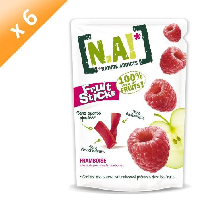[LOT DE 6] N.A Fruit Sticks Doypack de Framboise - 40 g