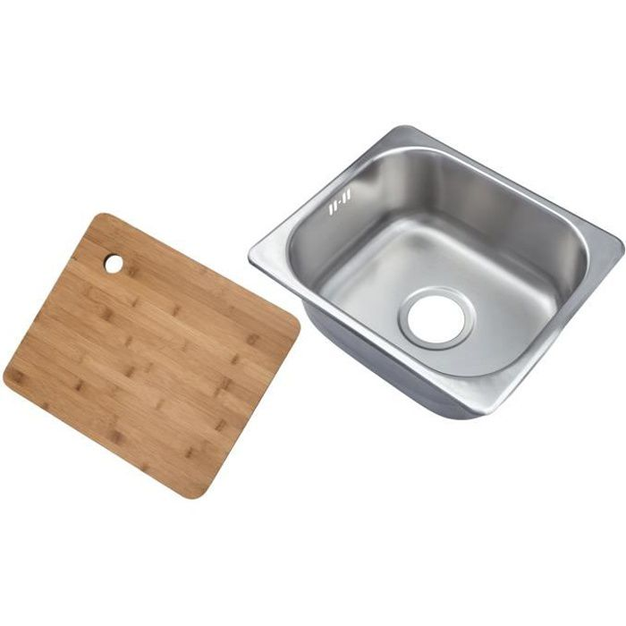 Complement® Petit évier carré encastrable 1 bac acier brossé +Planche à découper en bambou (A11 bs + cb)