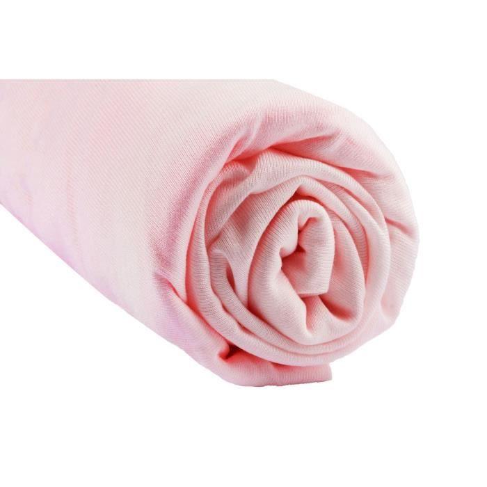 Drap housse viscose Bambou lit deux places 140x90 / 140x200 (Rose)