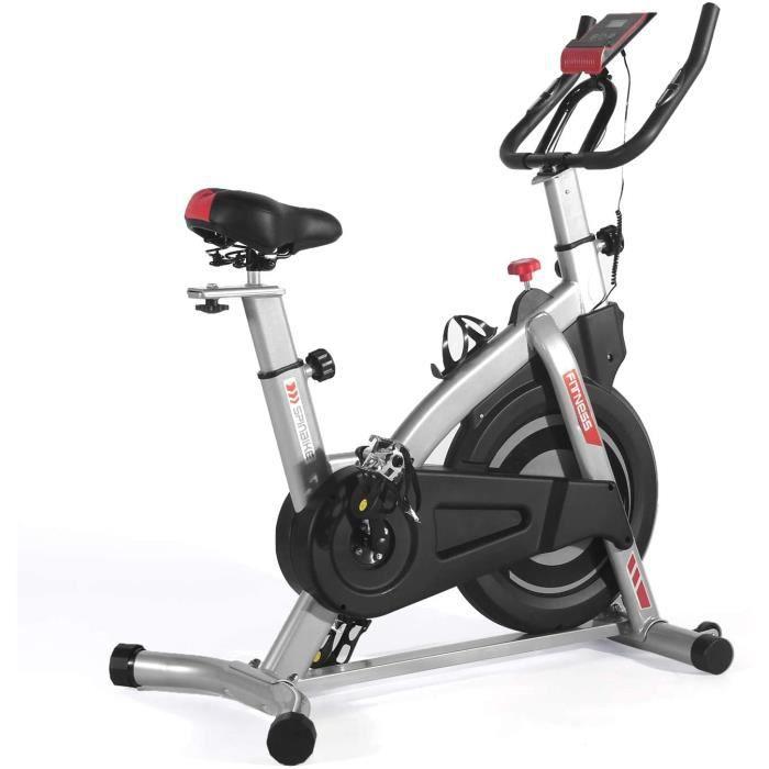 ISE Velo Biking Spinning Magnetique,Velo d'appartement Interieur Entrainement avec Porte-Bouteille Volant+Roue inertie 8kg,SY7020