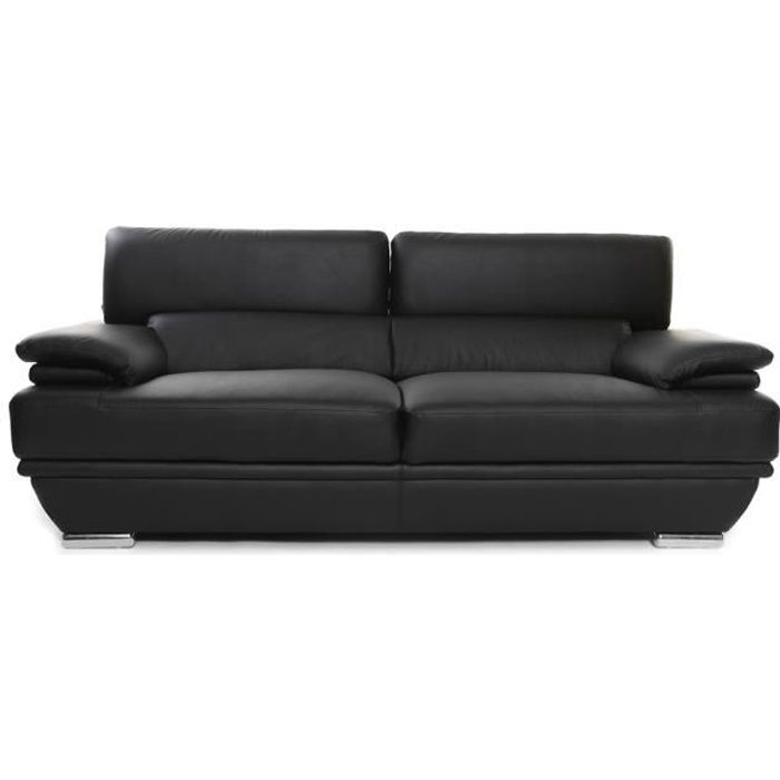 Miliboo - Canapé cuir design 3 places avec têtières ajustables noir EWING