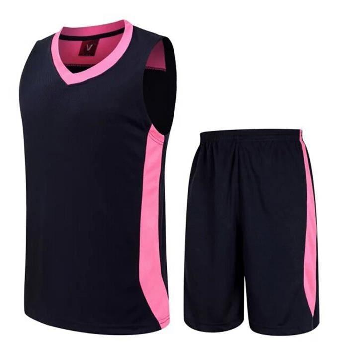 Maillot et culotte de basket ensemble-Design personnalisé unique- Unisexe- Sans manche-Bleu foncé