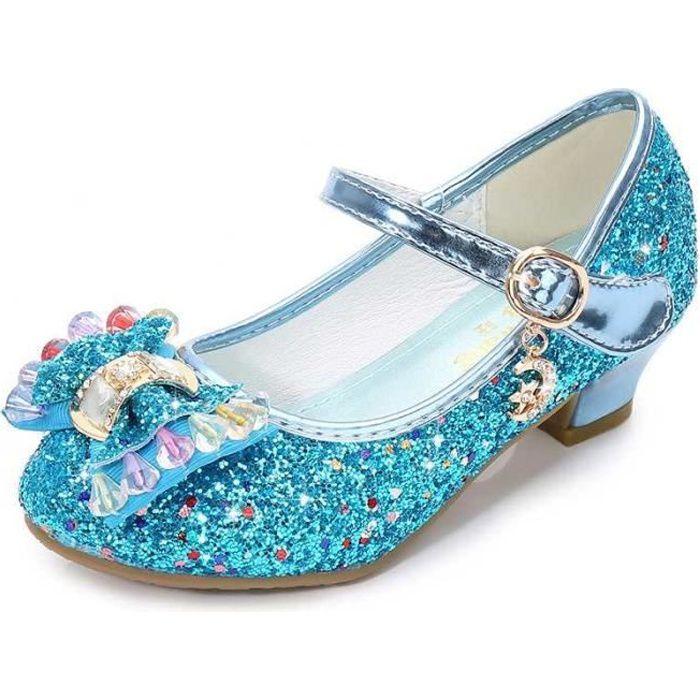 Ballerines à Talon Enfant Filles Chaussures Princesse pour Déguisement Soirée Cérémonie Mariage Noël - Bleu