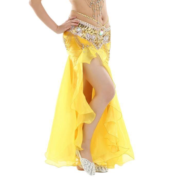 Jupe De Danse Du Ventre Femmes Fente Longue Jupe Danse Sans Ceinture Jaune