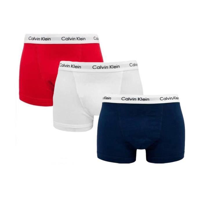Homme CALVIN KLEIN Pack de 3 Boxers Coton Rouge-Marine-Blanc