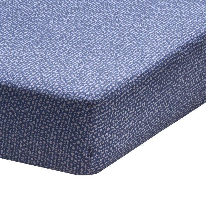 Drap housse imprimé en bambou, Jean, Bleu, 140x190 cm