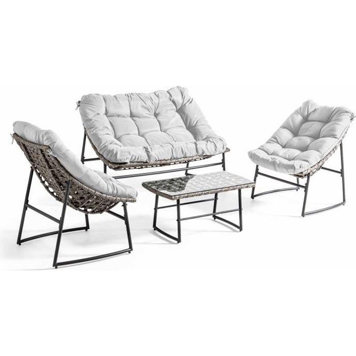 Salon de jardin 4 places en métal et résine tressée - ensemble canapé, 2 fauteuils et une table basse pour 4 personnes