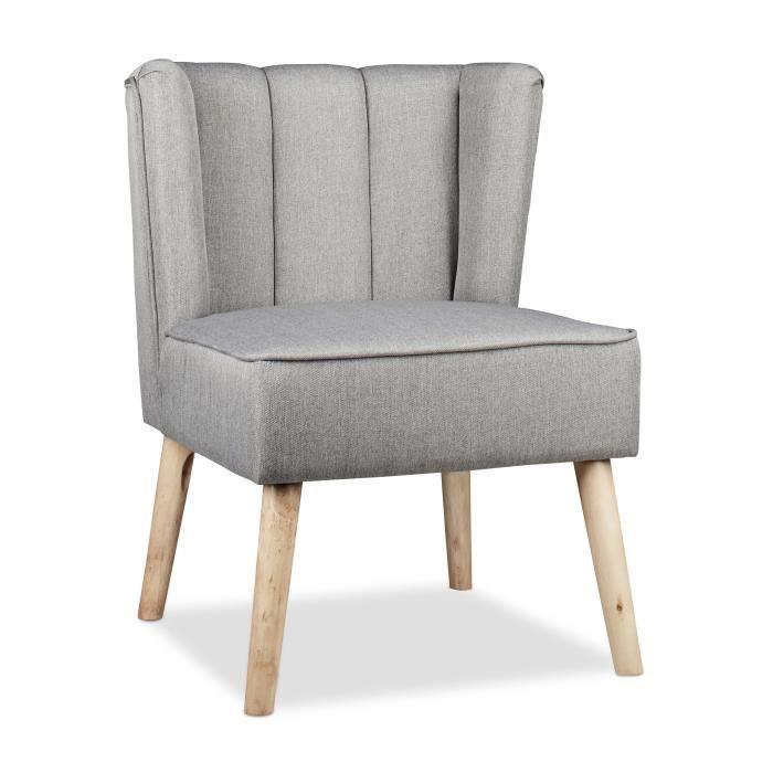 Relaxdays Fauteuil à oreilles Retro années 50 chaise salon vintage scandinave 1 place tissu HxlxP: 80 x 55 x 60 cm, gris -