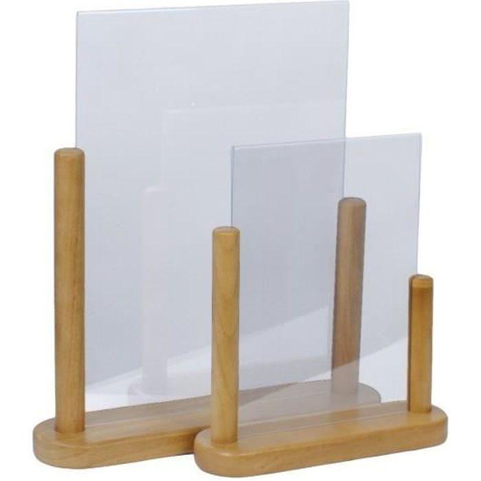 Porte-menu de table cadre bois coloris teck avec support transparent A4