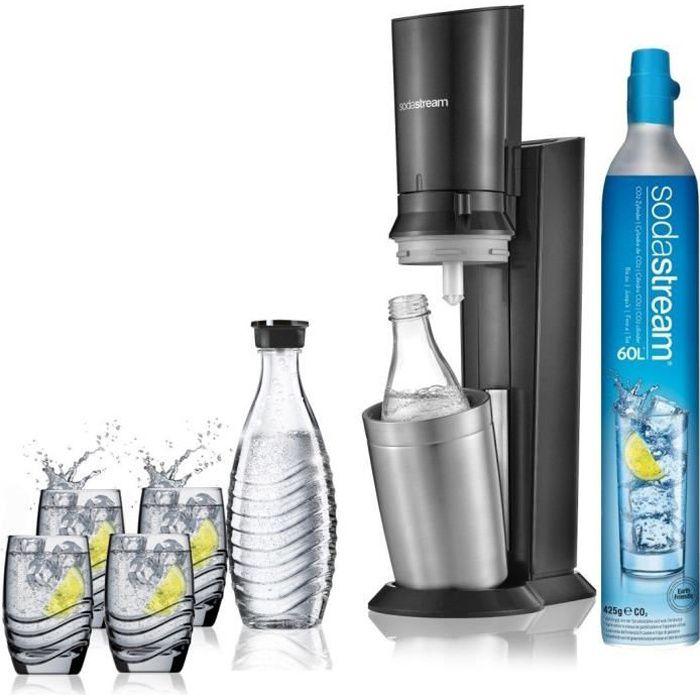 SODASTREAM Pack Machine à gazéifier Crystal + 2 Carafes en verre + 4 verres sérigraphiés