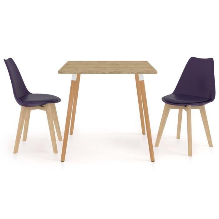 PAL Ensemble Meubles de salle à manger 80 x 80 x 75 cm 3 pcs métal, MDF avec PVC, bois de hêtre Violet foncé Palm rose1