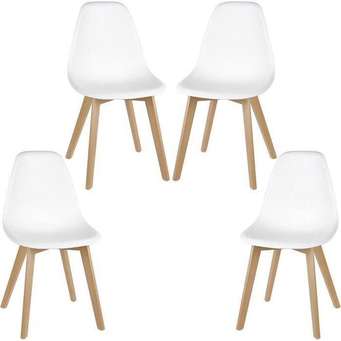 SACHA Lot de 4 chaises blanche