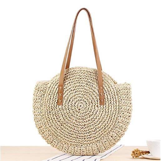 sac /à bandouli/ère Sac de plage pour femme avec fermeture /à pression en cuir sac de paille tiss/é /à la main Sac /à bandouli/ère en rotin pour femmes