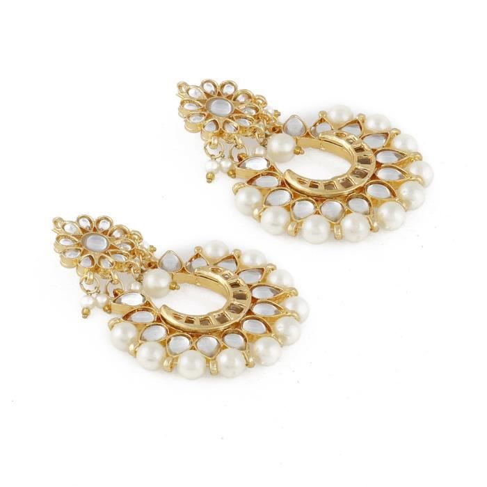 Womens Stylish Traditional Pearl Kundan Chandbalis Earrings ForEIF0W