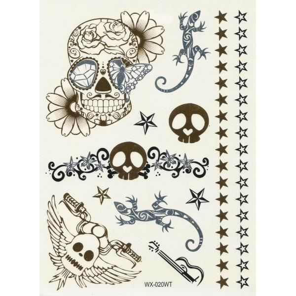 Tatouage ph m re dor t te de mort salamandre achat vente tatoo bijou de corps tatouage - Tatouage ephemere dore ...