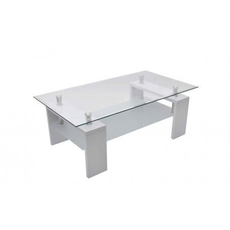 Table basse de salon en verre et mdf blanc laqu achat for Tables basses de salon en verre