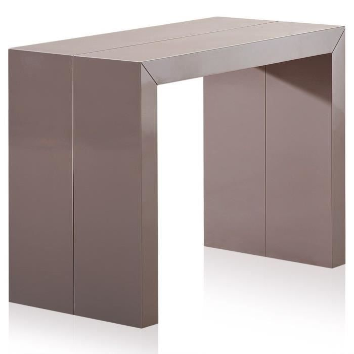 Table console extensible bermudes taupe achat vente - Table console extensible pied central ...