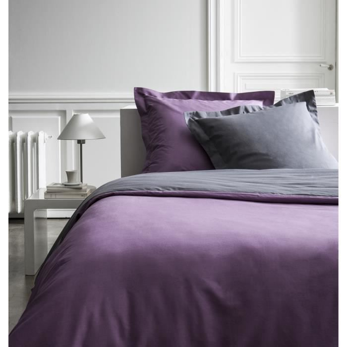 housse de couette percale bicolore violet gris 220x240 cm. Black Bedroom Furniture Sets. Home Design Ideas