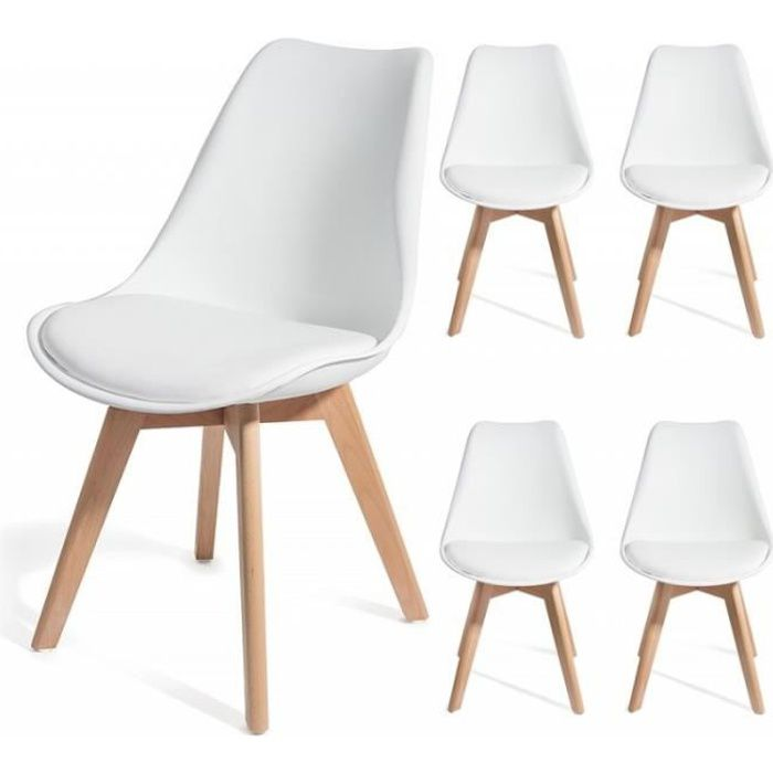 brekka blanc lot de 4 chaises design contemporain nordique scandinave super qualit achat. Black Bedroom Furniture Sets. Home Design Ideas