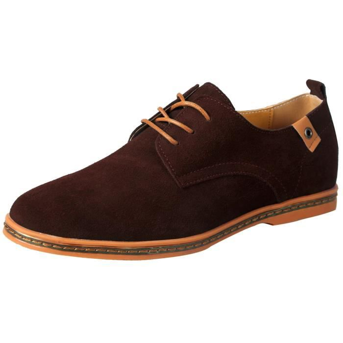 Chaussures de ville homme en cuir Mocassins suède Oxfords Cuir daim à  lacets Derby Outdoor Casual nubuck Oxfords shoes en plein a