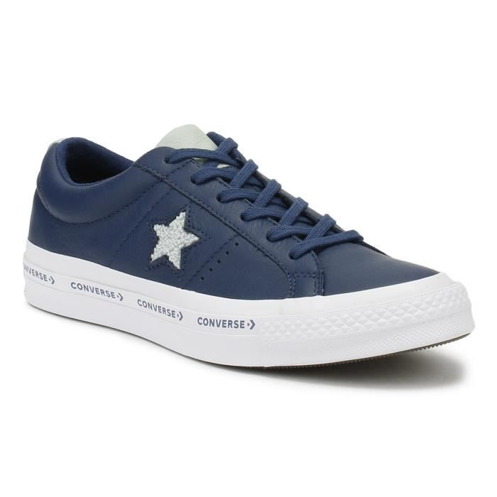 Converse One Star Hommes Bleu marine Pinstripe Ox Trainers ...