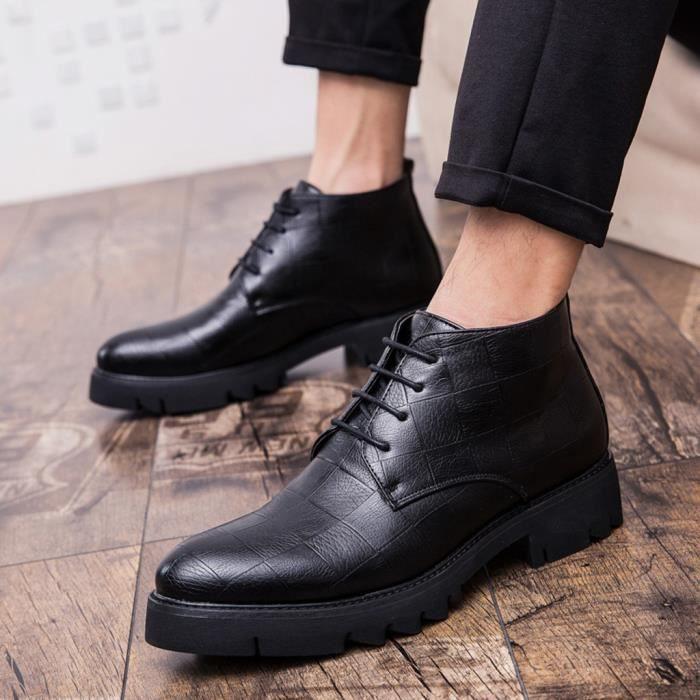 Bottes montantes hommes Chaussures Hommes en cuir britannique Casual pour Noir Mode haute style Chaussures Chaussures zSGqMLUVp