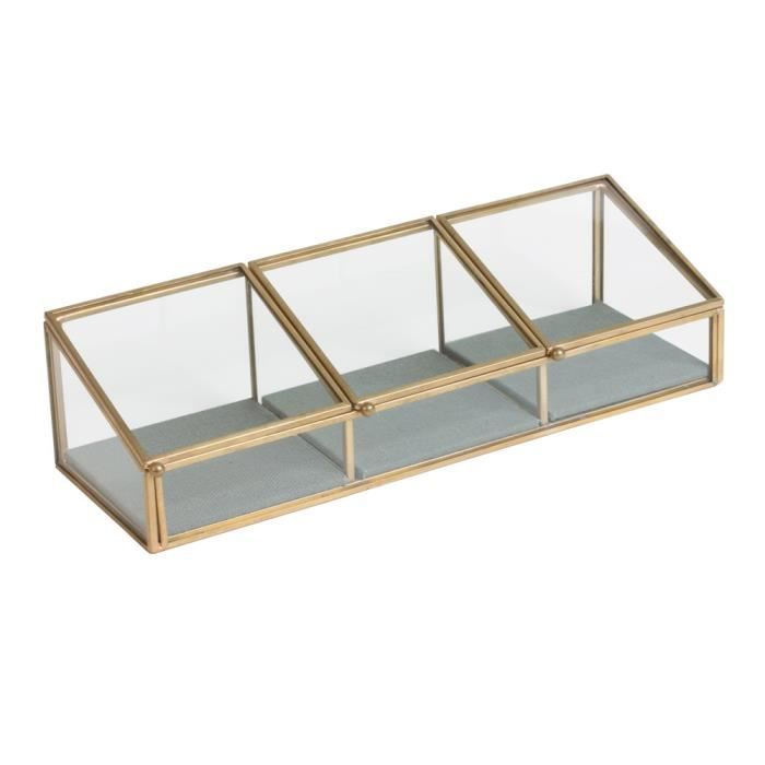 Table passion coffret bijoux vermet metal et verre 3 compartiments 27 x 9 c - Table verre et metal ...