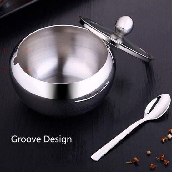 dimension 9/x 8/cm Bol /à sucre en acier inoxydable simple paroi Sucrier avec cuill/ère et couvercle ustensile de cuisine