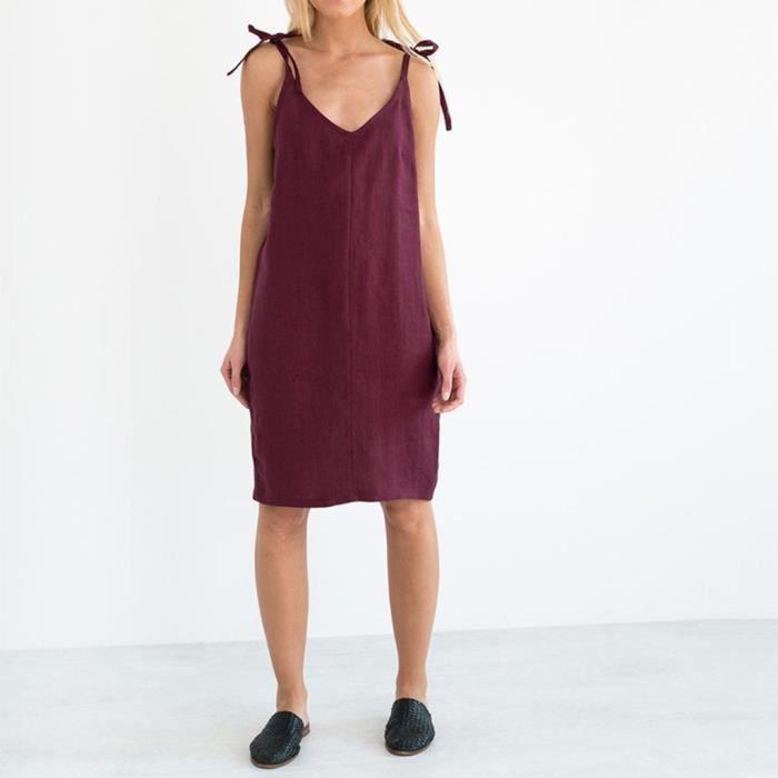 Les femmes col en V Slim Loose Fit manches solides Casual Robe en coton  LRR90426612WE Du vin