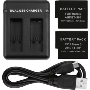 BATTERIE APPAREIL PHOTO ®cBOX Pack Chargeur en double slot + 2 Batteries 1